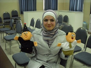 Jordan counselor with puppets