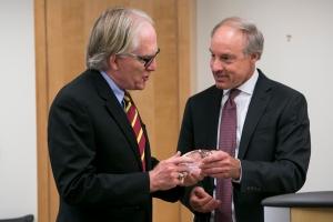 Executive Director Curt Goering presents Professor David Crane with CVT's 2014 Eclipse Award. Photo: Kristoffer Tripplaar