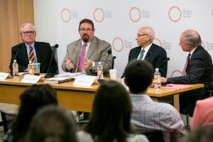 Expert panel (left to right): Professor Crane, Ambassador CdeBaca, Professor Luban, and Curt Goering. Photo: Kristoffer Tripplaar